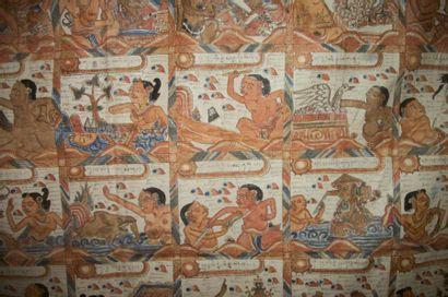 Deux broderies, Laos, toile rouge brodé polychrome...