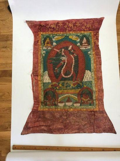 Thangka, Tibet, toile peinte d'une divinité...