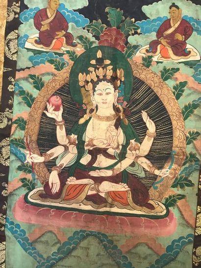 Thangka, Tibet, toile peinte d'une divinité du panthéon bouddhiste, probablement...