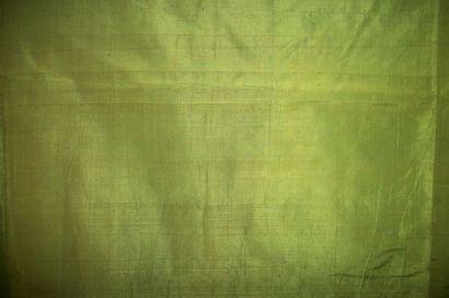 Panneau de taffetas vert, XVIIIème siècle...