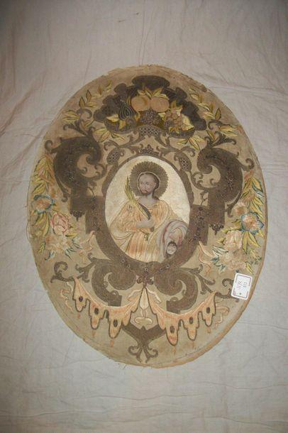 Panneau ovale, XVIIIème siècle, taffetas...