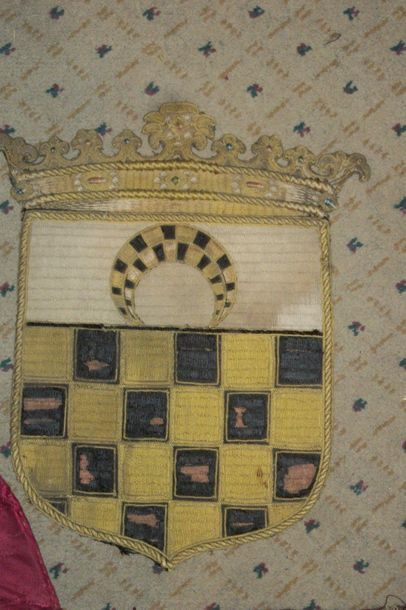 Réunion d'un lampas, vers 1710, décor à la...