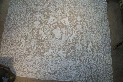 Grand panneau en dentelle de Venise, décor...