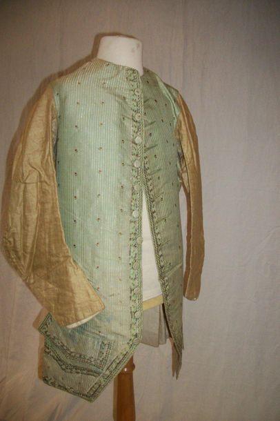 Veste gilet, époque Louis XVI, cannelé vert...
