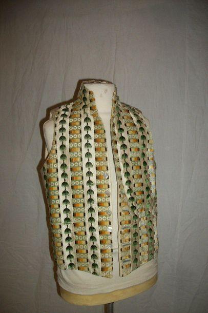 Gilet à col haut, vers 1790- 1795, gourgouran...