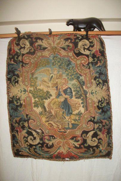 Panneau de tapisserie au petit et gros point,...