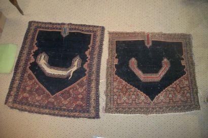 Deux tapis de selle, Senneh, fond noir, décor...
