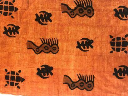 Bogolan, Mali, bandes de coton teinté par...