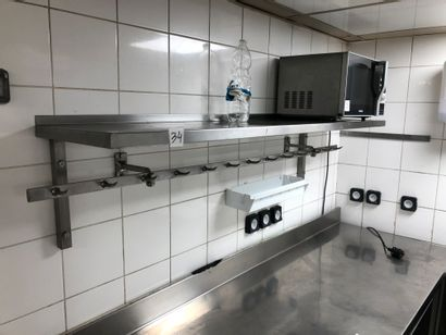 2 stainless steel wall shelves with butcher's hooks