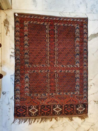 Tapis Hatchlou, Boukhara, fond rouge brique,...