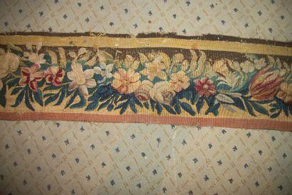 Bordure de tapisserie, laine et soie, Aubusson,...