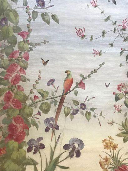 Carton de tapisserie, perroquets dans des...