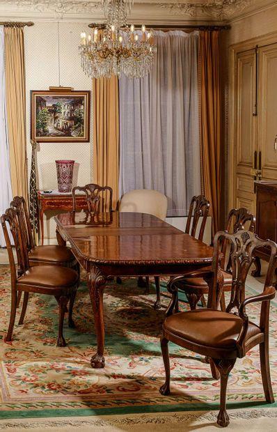 Table de salle à manger en placage de bois,...