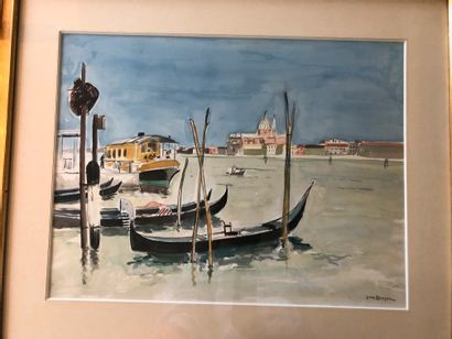 Yves BRAYER (1907-1990)  Gondoles à Venise...