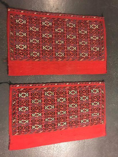 Paire de Tchouval (Turkmen) fin XIXème, tapis...