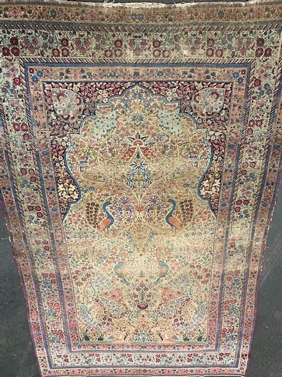 Grand et fin Kirman Laver (Perse) vers 1870....