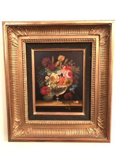 Travail moderne  Bouquet de fleurs sur un...