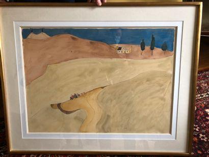 Henri LANDIER (Né en 1935)  La ferme isolée...