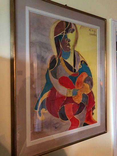 Henri LANDIER (Né en 1935)  Portrait de femme...