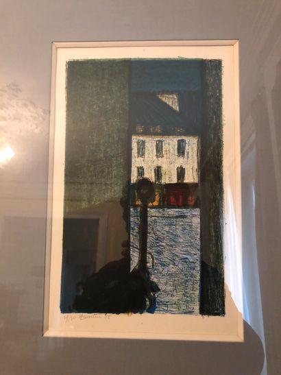Henri LANDIER (Né en 1935)  La ruelle  Lithographie,...