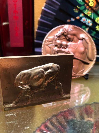 Ensemble de 5 plaques en bronze ou métal...