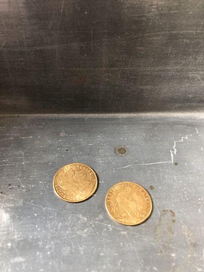 Réunion de 2 pièces de 10 francs Or (1905...