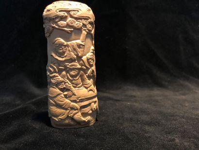 Poignée d'ombrelle en ivoire sculpté à décor...