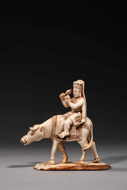 Okimono en ivoire sculpté représentant un...
