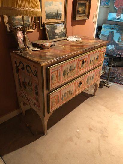 Commode en bois peint, ouvrant par 2 tiroirs...