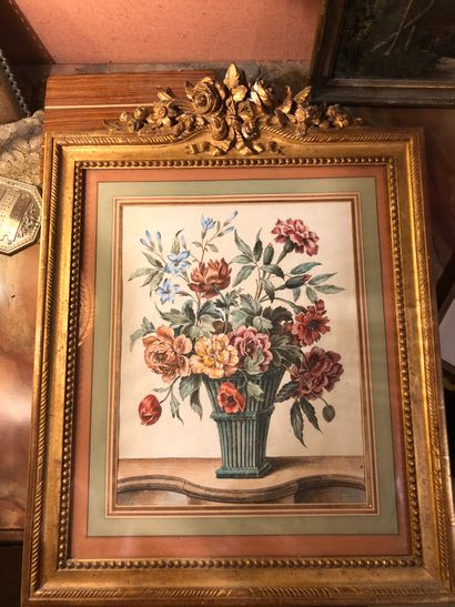 gravure en couleur figurant un bouquet de...