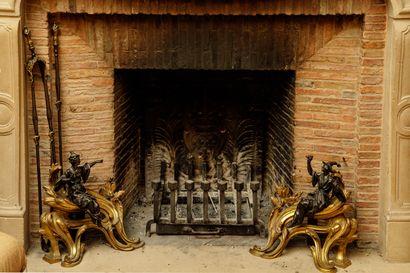 Paire de chenets en bronze doré et bronze...
