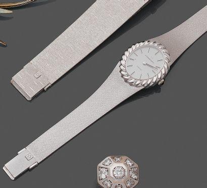 """ETERNA MATIC  BRACELET MONTRE ovale, modèle """" Sahida """", en or gris (750). Lunette..."""