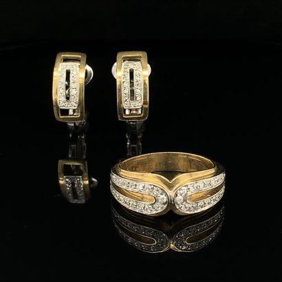 DEMI-PARURE géométrique en or jaune et or...