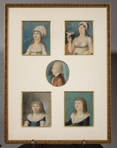 École française vers 1800  Cinq pastels sous...