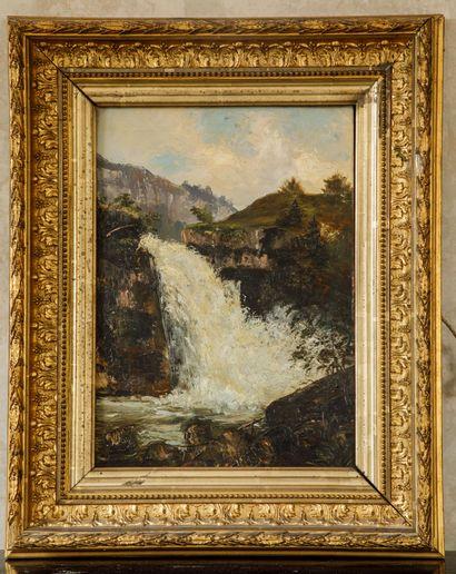 Ecole française du XIXème siècle  La cascade...