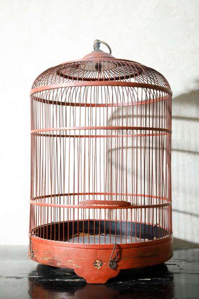 Cage à oiseaux en bois laqué rouge, anneau...