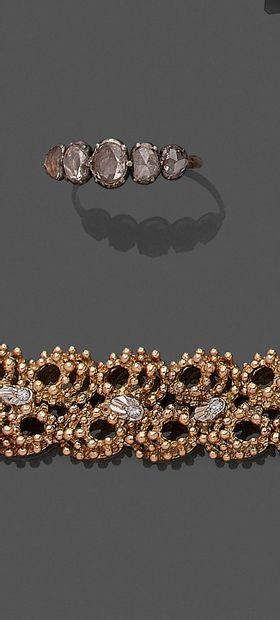 BAGUE en or rose (750) et argent (min. 800)...