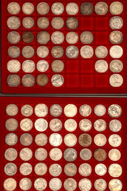 Lot de 83 jetons variés en argent principalement XVIIIème siècle dont : Art de la...