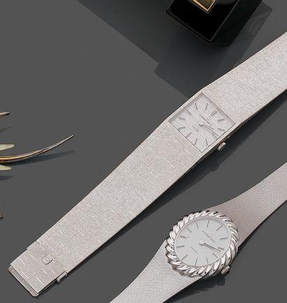 """ETERNA MATIC  BRACELET MONTRE carrée modèle """" Sahida """" en or gris (750) finement..."""