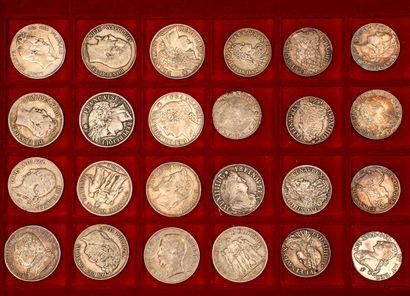 Lot de 11 demi écus variés de Louis XIV à Louis XVI joint 13 pièces de 5 francs...