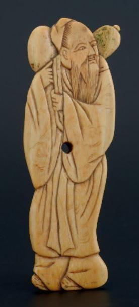 PLAQUE D'ORNEMENTATION représentant un vieillard,portant...