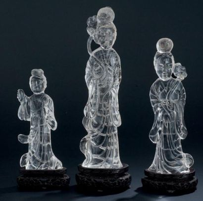 QUATRE SCULPTURE en cristal de roche Chine...