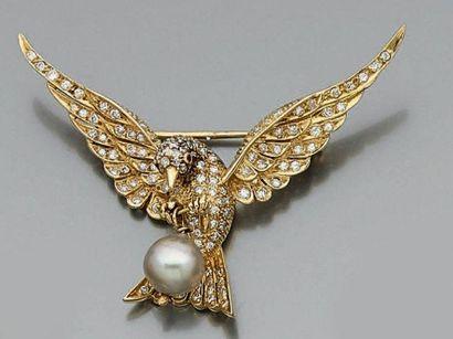 BROCHE «oiseau» en or jaune (750 millièmes)...