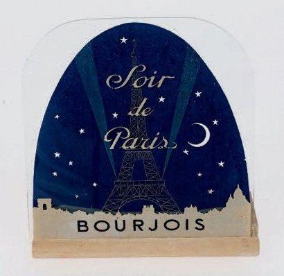 Bourjois «SOIR DE PARIS» Plaque publicitaire en verre décorée d'une vue de la Tour...