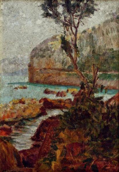 Lucien MAINSSIEUX (1885-1958) La côte rocheuse huile sur panneau, signée en bas à...
