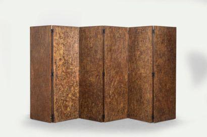 Grand paravent, décor de laque à l'arraché  6 feuilles, pour une : 170x54cm