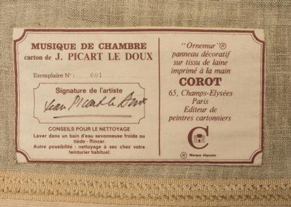 Jean PICART LE DOUX  Tapisserie, modèle musique de chambre, tissé à la maison COROT...