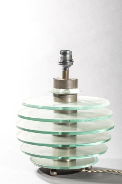 Lampe moderniste en plaquette de verre  ...
