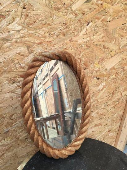 Miroir de forme ovale en cordes  H51cm