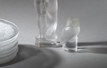 Lalique France  Chouette Epreuve en verre...